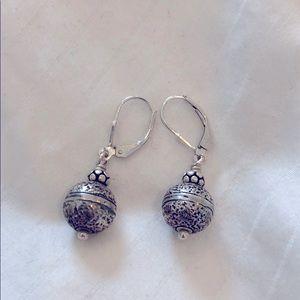 Sterling silver detailed dangle ball earrings